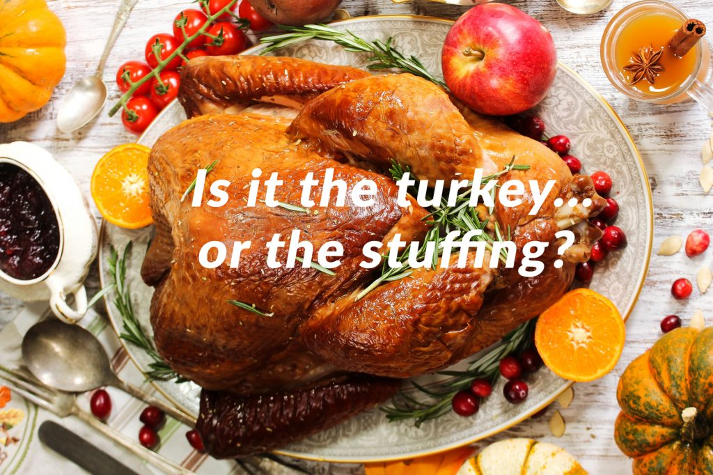 "Turkey dinner with text ""Is it the turkey or the stuffing? """