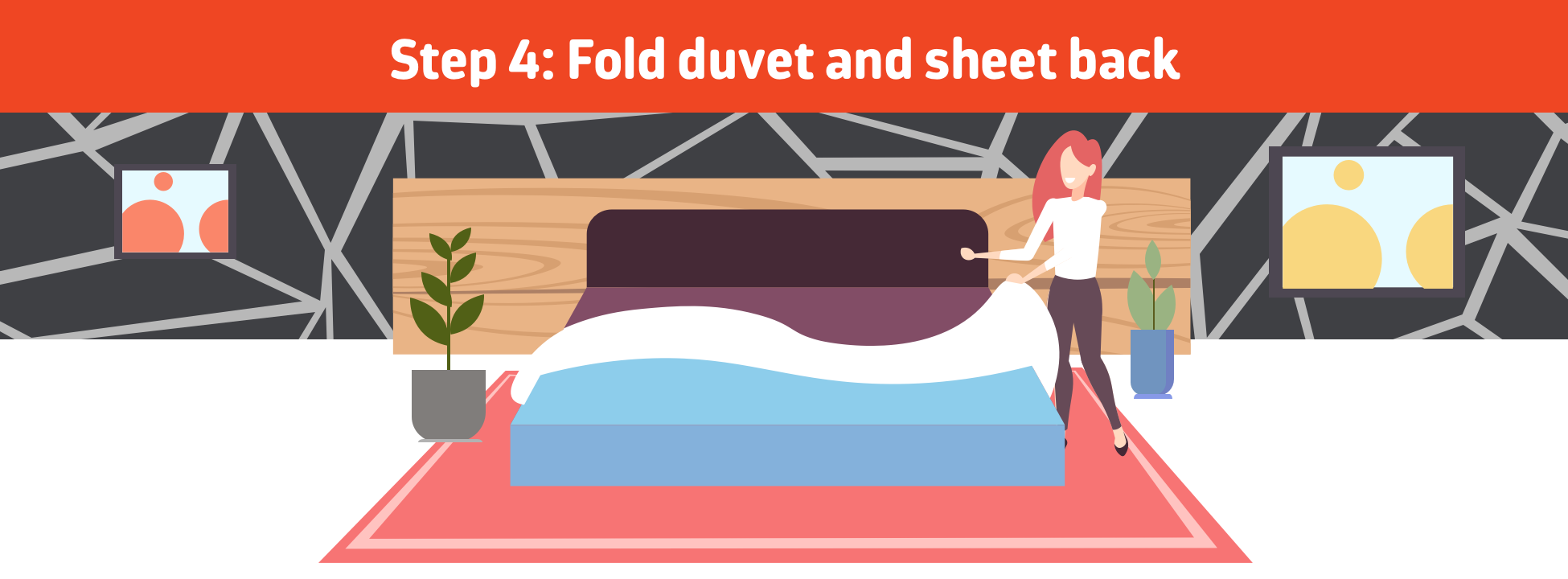 Fold duvet and sheet back